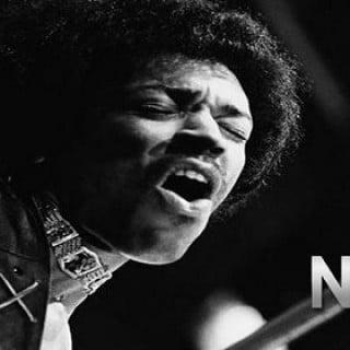 Jimmy Hendrix med gitar